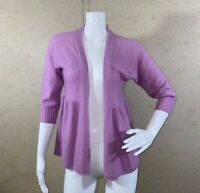 Calypso Open Front Cardigan 3/4 Sleeve 100% Cashmere Purple Women's Size XS