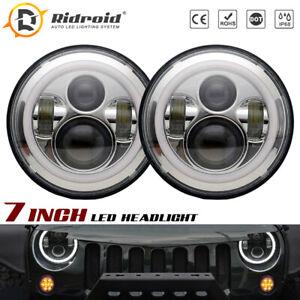 2x Chrome 7inch Round LED Headlight Halo Angle Eye For Jeep Wrangler JK TJ CJ LJ