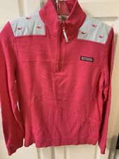 Womens S Vineyard Vines Pink Whale 1/4 Zip Shep Pullover
