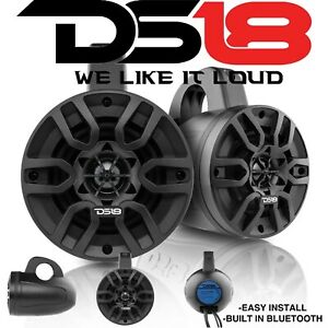 """DS18 HYDRO 4"""" 240 Watts 4 Ohm Bluetooth Black Amplified Wakeboard Tower Speakers"""