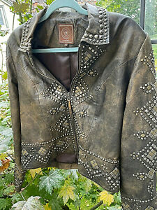 Double D Ranch women's Leather Jacket w/ brushes silver and brass studs size Sm