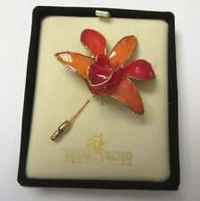 VINTAGE ROYAL ORCHID LACQUERED GOLD PLATED GENUINE ORCHID BROOCH PIN IN BOX