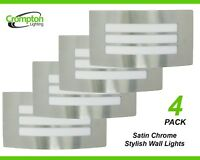 4 x Large Satin Chrome Bunker Wall Lights Rectangular w Grille Outdoor Exterior