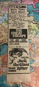 """1960's """"Jack the Giant Killer"""" Edward Small """"The Great Escape"""" Steve McQueen ad"""