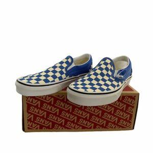 New Blue Checkerboard Slip On Vans