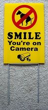 "NO DOG POOP - SMILE YOU'RE ON CAMERA 8""X12"" Plastic Coroplast Sign with Stake y"