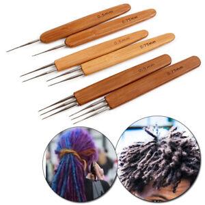 New Crochet Needle Hook Bamboo Handle Dreadlock Knit Hair Making Braiding Tool
