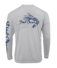 Long Sleeve Silver UPF 50+ Microfiber Performance Fishing Shirt