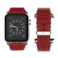 PASBUY 78B Genuine Leather Metal Buckle Band for Apple Watch Series 4 3 2 1 Red