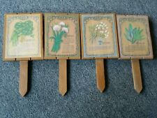 Herbs Garden Decor Rustic Wood Stick Set of 4: Parsley, Chives, Thyme, Sage.
