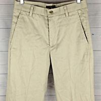 DOCKERS D1 Men's Size W29 x L32 Solid Beige 100% Cotton Flat Front Dress Pants