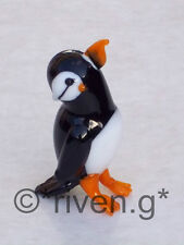 PUFFIN FIGURINE@FEATHERED Glass OCEAN BIRD@Collectable@WINGED BEACH CUTE SEASIDE
