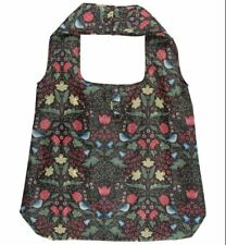 Black Floral Foldable Shopping Bag Arts & Crafts W Morris style Roll up Bird