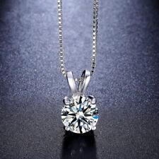 925 Argento Sterling Cristallo Collana Con Ciondolo Diamante Catena Regalo GUT