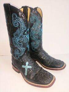 FERRINI 9B Womens Black Alligator Emboss Leather W/Turquoise Stitch Cowboy Boots