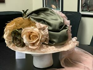 Green/Ivory Decorated Wide-Brim NEW Hat - Woman's Old West, Edwardian, Steampunk