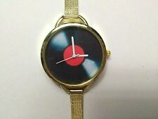 Ladies MUSIC VINYL RECORD Pattern Watch with Mesh Wristband - GOLD
