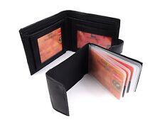 Unisex de cuero real de lujo Billetera Negra Con 2IN1 desmontable de portatarjetas de crédito