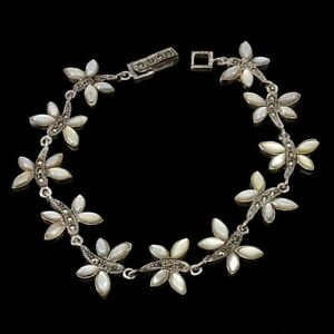 Marquise Mother Of Pearl Marcasite 925 Sterling Silver Dragonfly Bracelet