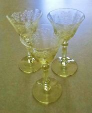 CAMBRIDGE APPLE BLOSSOM YELLOW WINE ETCHED DEPRESSION GLASS (1 Glass)