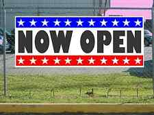 Stars & Stripes Now Open Banner Sign New 2X5