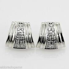 HIGH END QUALITY 0.75 CT. PAVE ROUND DIAMOND EARRINGS 14K WHITE GOLD
