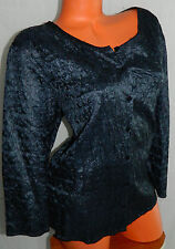 EILEEN FISHER 1X 16 18 Top BLOUSE Tunic 100% SILK Career NAVY BLUE Crinkle   #9