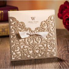200 Gold Personalised Laser Cut Wedding Day Evening Invitation Card & Envelopes