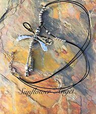 Stunning, Abstract lagenlook Silver, gold Dragonfly pendant, Black Leather cord.