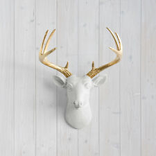Wall Charmers White Mini Deer + Gold Antler Faux Head Fake Animal Taxidermy