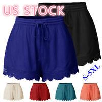 Women Fashion Summer Elastic Waist Lace Hem Casual Shorts - Plus Size