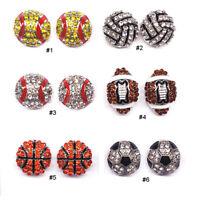 Pave Crystal Baseball Softball Team Sports Stud Earrings Football Studs Jewelry