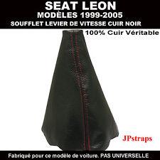 SEAT LEON MODÈLES 99 - 05 SOUFFLET LEVIER DE VITESSE CUIR NOIR ROUGE PIQUER