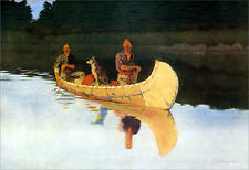 An Evening on a Canadian Lake  by Frederic Remington   Giclee Canvas Print Repro