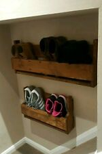Small Reclaimed Wood Wall Mounted Shoe Rack Storage Organiser