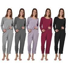 Raikou Damen Jersey Zweiteiliger Freizeitanzug Schlafanzug Pyjama Set Hausanzug