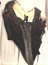 Vintage Edwardian Bodice Burgundy Velvet Bead Fringe Tlc Top Stays b36 Paris