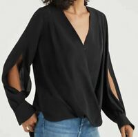 NWT 7 Of All Mankind Womens CROSS FRONT V-NECK TOP JET BLACK Size XS