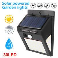 4X 40/30 LED Solar Powered PIR Motion Sensor Security Lights Garden Outdoor Lamp
