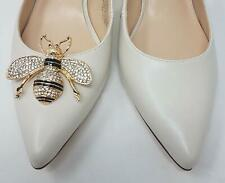 Gold Color Bee Shoe Clips with Rhinestones 2pcs, Shoe Accessories