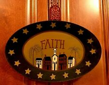 Primitive Country Faith Salt Box Wood Painted Sign Wall Decor WillowTree Stars