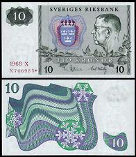 Suecia 10 CORONAS (P52r1) 1968 estrellas Reemplazo Unc