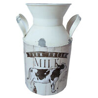 4L Handmade Shabby Chic Enamel Churn with Handles Featuring Farm Themed Cow Desi