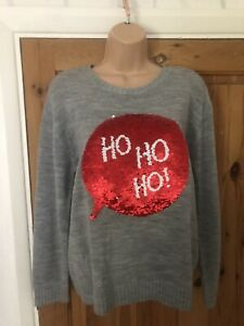 H&M Women's Ladies Top Jumper Pullover Hrey Sequins Christmas Size M Uk 12/14