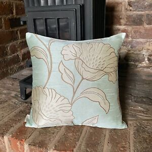 554. Flowers on Duck egg Blue Jacquard Cushion Cover.Various sizes