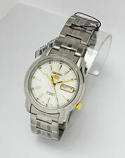 SEIKO Men Silver tone Automatic Watch Seiko 5 WHITE  SNKL77K1 Gold accents w box