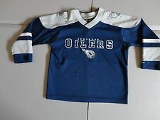 Blue SEWN Edmonton Oilers  NHL Hockey Jersey Youth 6X Very Nice Free US Shipping
