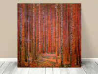 Stunning Classic Art ~ Red Forest by Gustav Klimt ~ CANVAS PRINT 24x24""