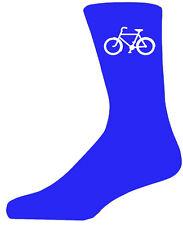Chaussettes bleu haute qualité avec un vélo blanc, joli cadeau d'anniversaire