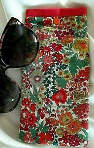 Liberty Floral Glasses Case Soft Fabric Quilted Sunglasses Pouch Handmade Snap